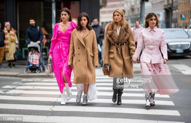 Marta Lozano Aida Domenech Teresa Andres Gonzalvo Ángela Rozas Saiz attends the Ermanno Scervino show at Milan Fashion Week Autumn/Winter 2019/20 on...
