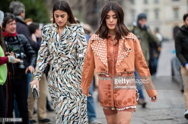 Marta Lozano and Aida Domenech seen outside Roberto Cavalli on Day 4 Milan Fashion Week Autumn/Winter 2019/20 on February 23 2019 in Milan Italy