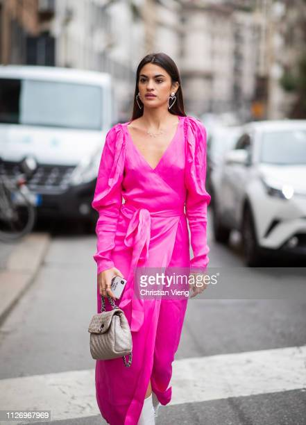 Marta Lozano attends the Ermanno Scervino show at Milan Fashion Week Autumn/Winter 2019/20 on February 23 2019 in Milan Italy