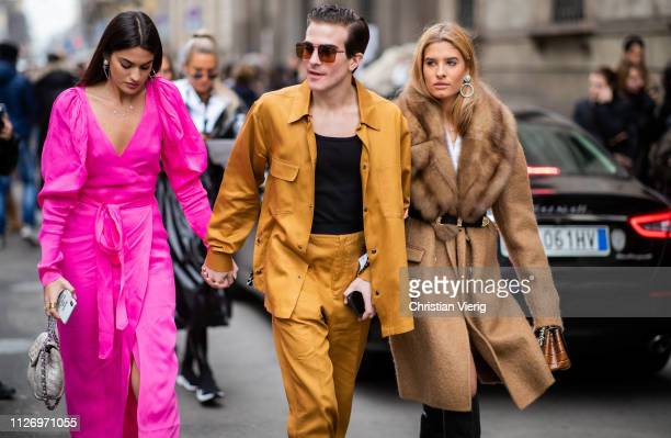 Marta Lozano Carlo Sestini and Teresa Andres Gonzalvo attends the Ermanno Scervino show at Milan Fashion Week Autumn/Winter 2019/20 on February 23...