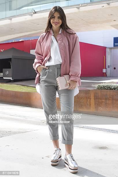 Marta Lozano is wearing Jeffrey Campbell Shoes Salar Milano Handbag Mango Pants Mango Jacket and Zara Shirt at MercedesBenz Madrid Fashion Week...