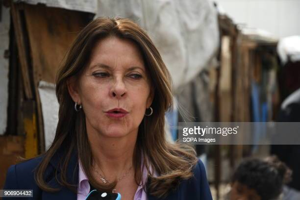 Marta Lucía Ramírez seen speaking to media during her visiting inside a shantytown of Caracas The Columbian presidential candidate Marta Lucía...