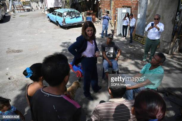 Marta Lucía Ramírez seen speaking to the inhabitants of a shantytown in Caracas The Columbian presidential candidate Marta Lucía Ramírez arrived in...