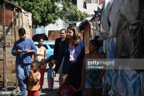 Marta Lucía Ramírez seen visiting the inhabitants of a shantytown in Caracas The Columbian presidential candidate Marta Lucía Ramírez arrived in...