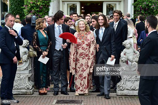 Marta Marzotto , maternal grandmother of Beatrice Borromeo, and others leave the Hotel Des Iles Borromees for the religious wedding ceremony of...