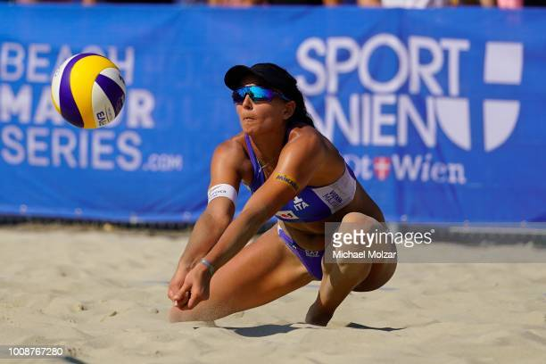 Marta Menegatti of Italy competes during the pool match between Heather Bansley of Canada and Brandie Wilkerson of Canada and Marta Menegatti of...