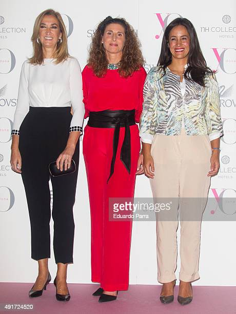 Marta Michel Tatiana Santamaria and Begona Villacis attend the Pink Hope Dinner by Yo Dona and Swarovski at Eurobuilding hotel on October 7 2015 in...