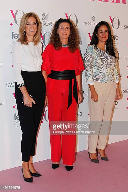 Marta Michel Tatiana Santamaria and Begona Villacis attend the Pink Hope Dinner By 'Yo Dona' and Swarovski on October 7 2015 in Madrid Spain