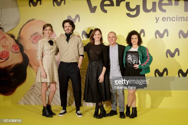 Marta Nieto, Jaime Zatarin, Malena Alterio, Javier Gutierrez, and Teresa Cuesta attend the 'Vergüenza' second season photocall at Telefonica flagship...
