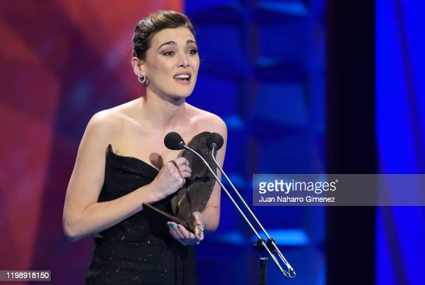 Marta Nieto poses in the Press Room after winning the Best actrees Award during Jose Maria Forque Awards 2020 at Ifema on January 11, 2020 in Madrid,...