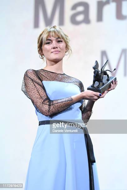 """Marta Nieto receives the Orizzonti Award for Best Actress for """"Madre"""" during the Award Ceremony during the 76th Venice Film Festival at Sala Grande..."""