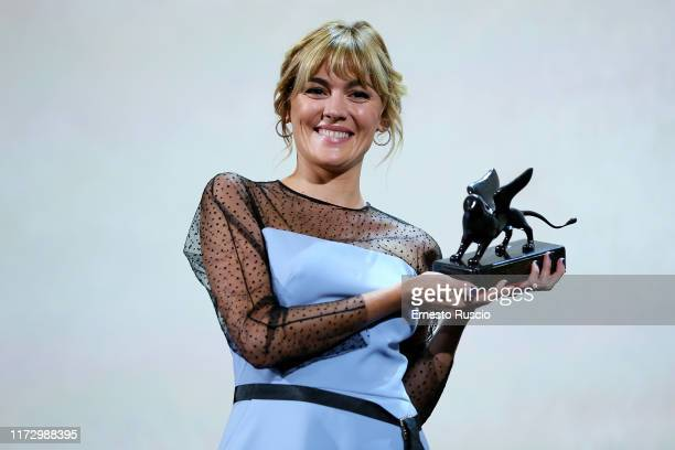 Marta Nieto receives the Orizzonti Award for Best Actress for Madre during the Award Ceremony during the 76th Venice Film Festival at Sala Grande on...