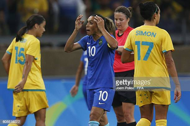 Marta of Brasil gestures during the Women's Quarter Final match between Brasil and Australia on Day 7 of the Rio2016 Olympic Games at Mineirao...