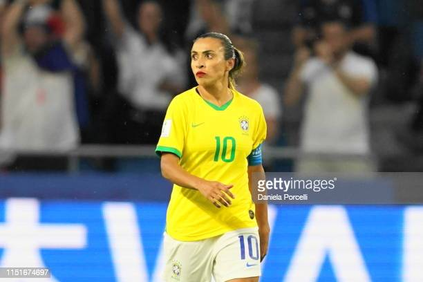 Marta of Brazil after receiving the goal against during the 2019 FIFA Women's World Cup France Round Of 16 match between France and Brazil at Stade...