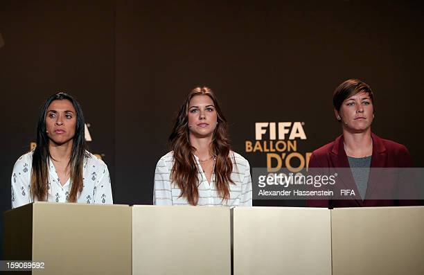 Marta of Brazil Alex Morgan and Abby Wambach of the USA during the Press Conference for the Nominees for the Women's World Player of the Year and...