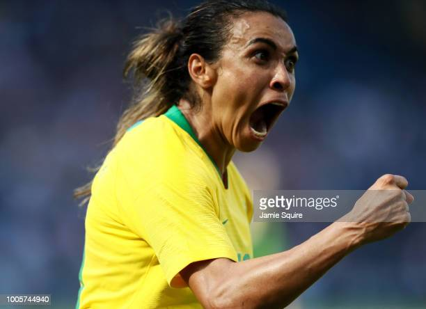 Marta of Brazil celebrates after a goal during their Tournament of Nations match against Australia at Children's Mercy Park on July 26 2018 in Kansas...