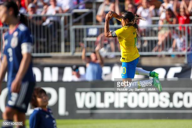 Marta of Brazil celebrates after scoring a goal to make it 01 during the Tournament of Nations match between Japan and Brazil at Pratt Whitney...