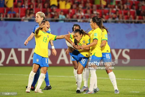 Marta of Brazil celebrates after scoring a penalty by kissing her boot to make it 01 during the 2019 FIFA Women's World Cup France group C match...