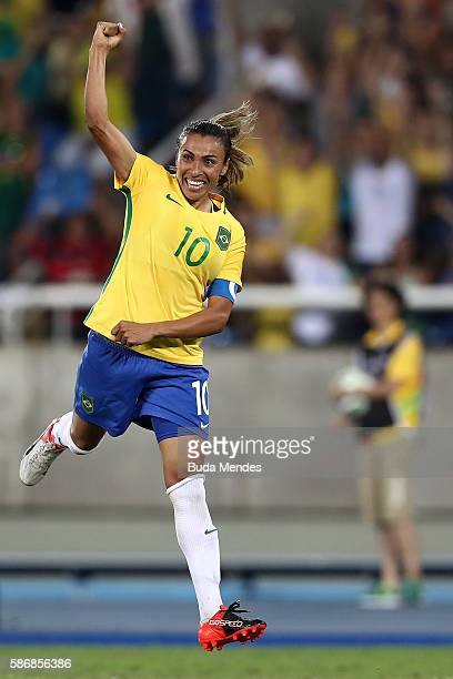 Marta of Brazil celebrates after scoring Brazil's fourth goal during the Women's Group E first round match between Brazil and Sweden on Day 1 of the...
