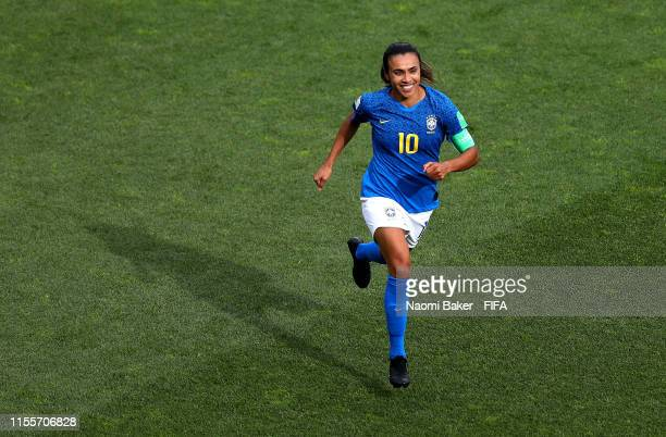 Marta of Brazil celebrates after scoring her team's first goal during the 2019 FIFA Women's World Cup France group C match between Australia and...