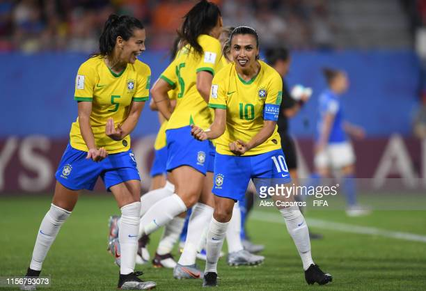 Marta of Brazil celebrates after scoring her team's first goal during the 2019 FIFA Women's World Cup France group C match between Italy and Brazil...