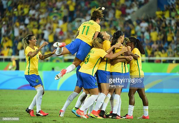 Marta of Brazil celebrates her goal from the spot during the Women's Group E first round match between Brazil and Sweden on Day 1 of the Rio 2016...