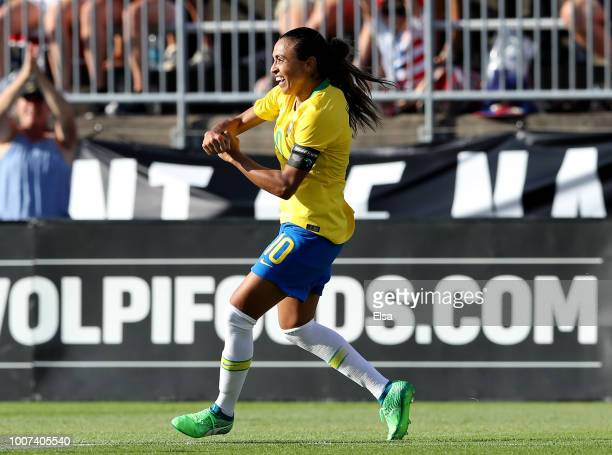 Marta of Brazil celebrates her goal in the second half against Japan during the 2018 Tournament of Nations at Pratt Whitney Stadium on July 29 2018...