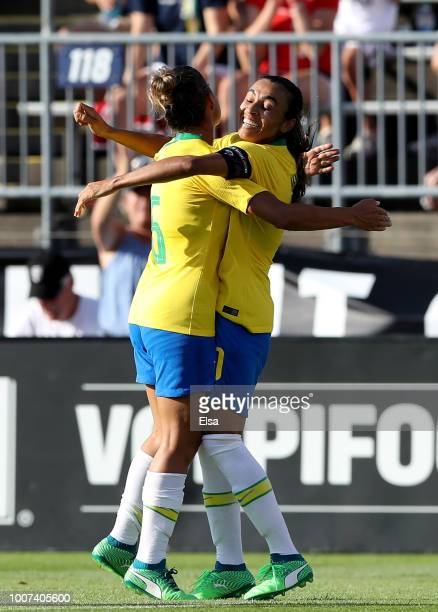 Marta of Brazil celebrates her goal with teammate Thaisa in the second half against Japan during the 2018 Tournament of Nations at Pratt Whitney...