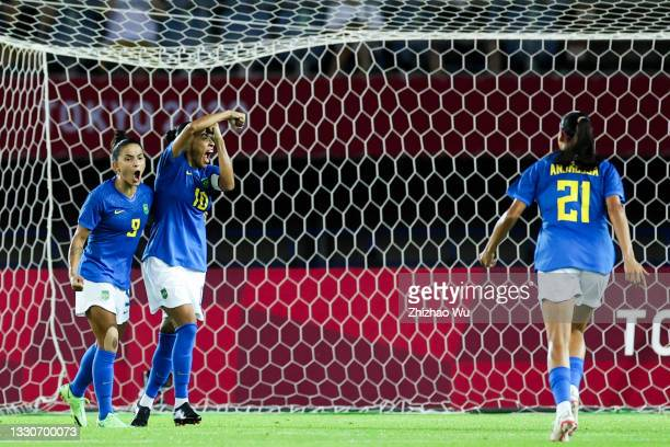 Marta of Brazil celebrates her scoring by penalty shots during the Women's First Round Group F match on day one of the Tokyo 2020 Olympic Games at...