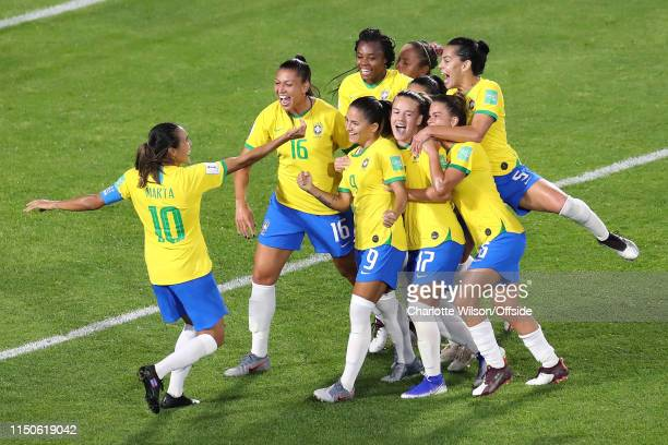 Marta of Brazil celebrates scoring their first goal from the penalty with her teammates during the 2019 FIFA Women's World Cup France group C match...