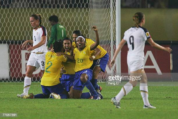 Marta of Brazil celebrates the goal during the Womens World Cup 2007 Semi Final match between USA and Brazil at Hangzhou Dragon Stadium on September...