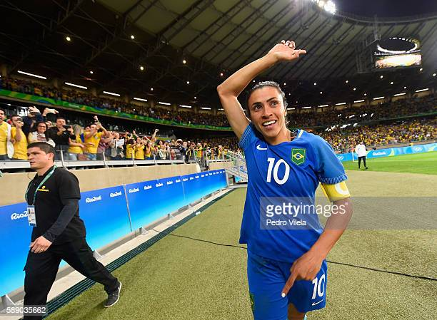 Marta of Brazil celebrates their 00 win over Australia during the Women's Football Quarterfinal match at Mineirao Stadium on Day 7 of the Rio 2016...