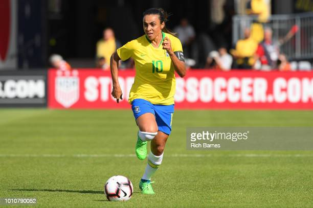 Marta of Brazil controls the ball against Japan during the first half of a Tournament of Nations game played at Pratt Whitney Stadium on July 29 2018...