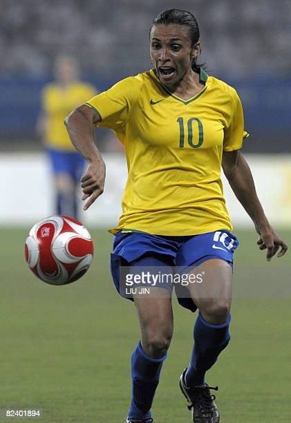 Marta of Brazil controls the ball during the 2008 Beijing Olympic Games women's semifinal football match Brazil vs Germany on August 18 2008 at the...