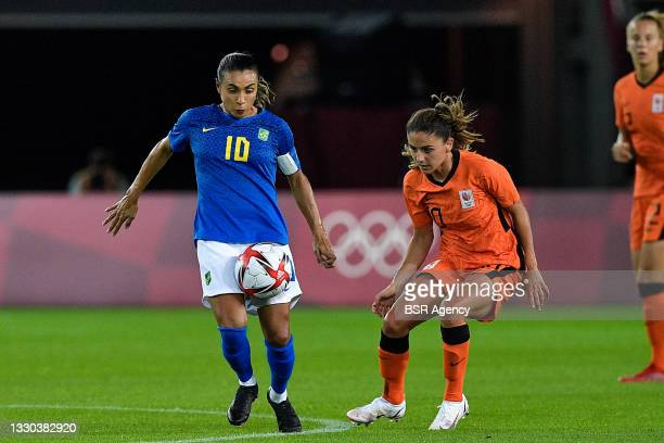 Marta of Brazil, Danielle van de Donk of the Netherlands during the Tokyo 2020 Olympic Football Tournament match between Netherlands and Brazil at...