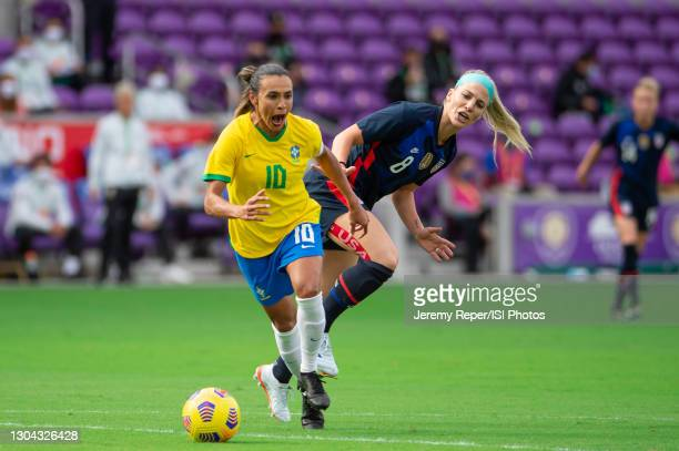 Marta of Brazil dribbles the ball during a game between Brazil and USWNT at Exploria Stadium on February 21, 2021 in Orlando City, Florida.