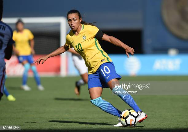 Marta of Brazil dribbles the ball during the Tournament of Nations soccer match between USA and Brazil on July 30 2017 at Qualcomm Stadium in San...