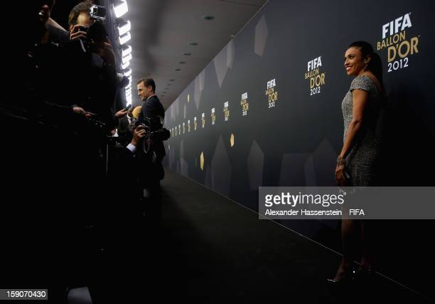 Marta of Brazil during the red carpet arrivals at the FIFA Ballon d'Or Gala 2012 at the Kongresshaus on January 7 2013 in Zurich Switzerland