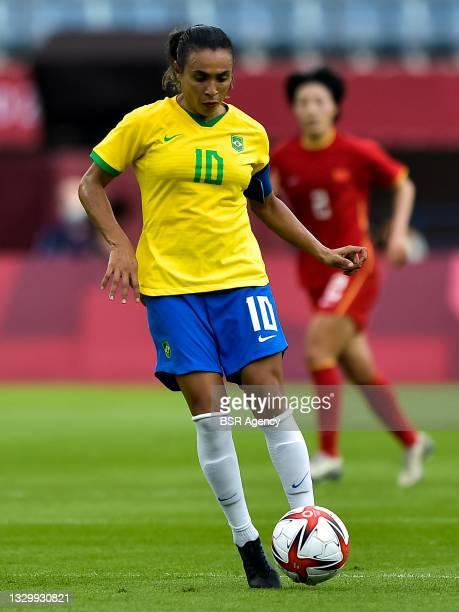 Marta of Brazil during the Tokyo 2020 Olympic Football Tournament match between China and Brazil at Miyagi Stadium on July 21, 2021 in Rifu, Japan