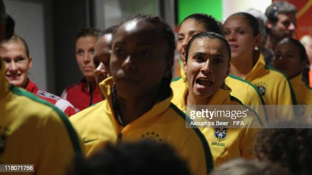 Marta of Brazil gets ready for the FIFA Women's World Cup 2011 group D match between Brazil and Norway at the Arena im Allerpark on July 3 2011 in...