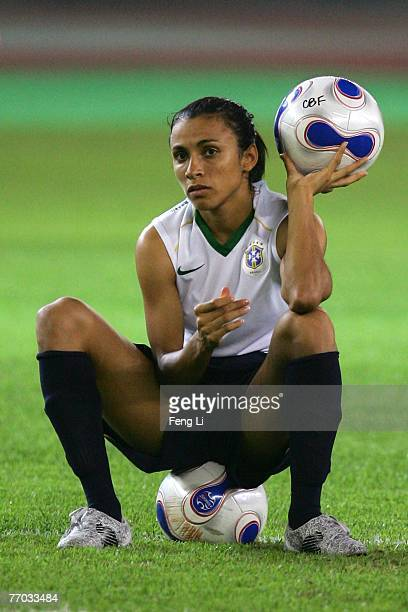 Marta of Brazil holds a ball during a training session ahead of the Semi Finals of the FIFA Women's World Cup China 2007 at Hangzhou Dragon Stadium...