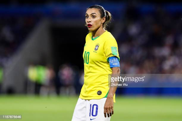 Marta of Brazil in action during the 2019 FIFA Women's World Cup France Round Of 16 match between France and Brazil at Stade Oceane on June 23 2019...