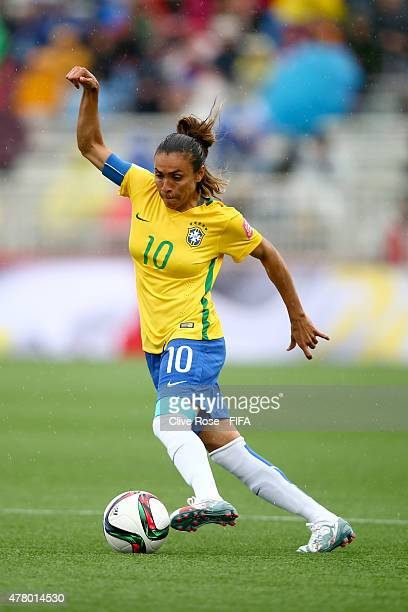 Marta of Brazil in action during the FIFA Women's World Cup 2015 Round of 16 match between Brazil and Australia at Moncton Stadium on June 21 2015 in...