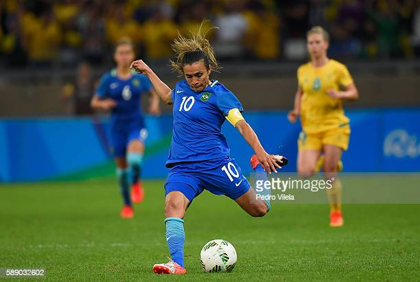 Marta of Brazil kicks the ball against Australia during the second half of the Women's Football Quarterfinal match at Mineirao Stadium on Day 7 of...