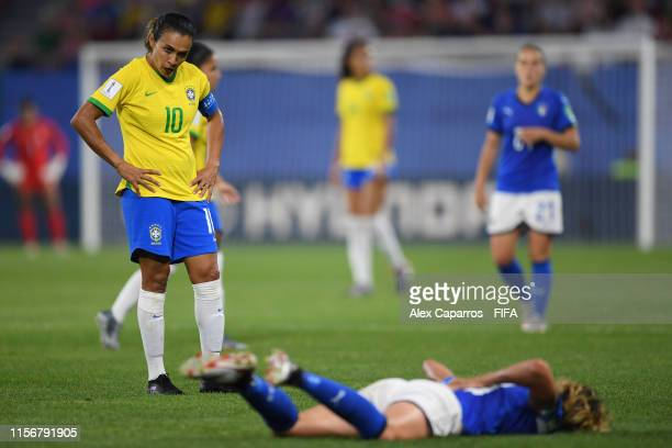 Marta of Brazil looks on as Valentina Giacinti of Italy reacts during the 2019 FIFA Women's World Cup France group C match between Italy and Brazil...