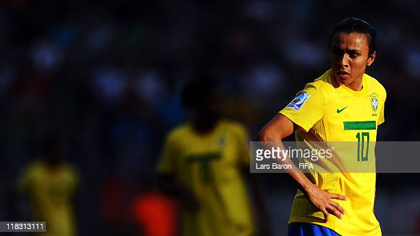 Marta of Brazil looks on during the FIFA Women's World Cup 2011 Group D match between Equatorial Guinea and Brazil at FIFA World Cup Stadium...
