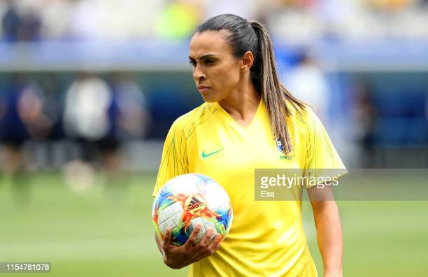 Marta of Brazil looks on during the warm up prior to the 2019 FIFA Women's World Cup France group C match between Brazil and Jamaica at Stade des...