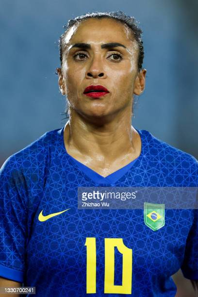 Marta of Brazil looks on during the Women's First Round Group F match on day one of the Tokyo 2020 Olympic Games at Miyagi Stadium on July 24, 2021...
