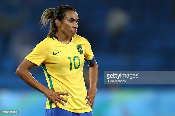 Marta of Brazil looks on during the Women's Group E first round match between Brazil and Sweden on Day 1 of the Rio 2016 Olympic Games at the Olympic...