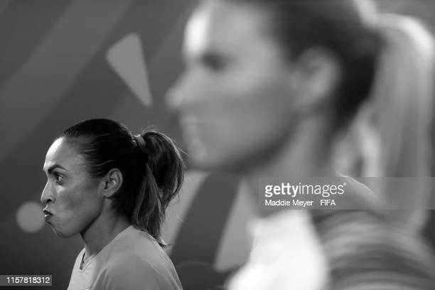 Marta of Brazil looks on from inside the tunnel prior to the 2019 FIFA Women's World Cup France Round Of 16 match between France and Brazil at Stade...